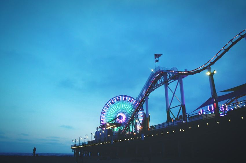Arts Culture And Entertainment Amusement Park Ferris Wheel Rollercoaster Night Nightlife Low Angle View Multi Colored Santa Monica Beach Pier Fun Live For The Story Place Of Heart The Street Photographer - 2017 EyeEm Awards
