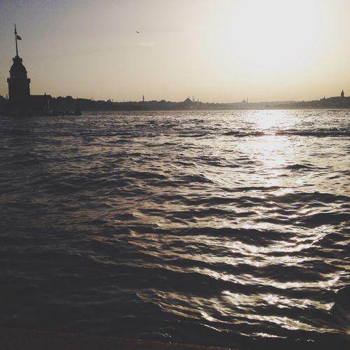 Bosphorus Galatatower Maidentower Sunset View Istanbul