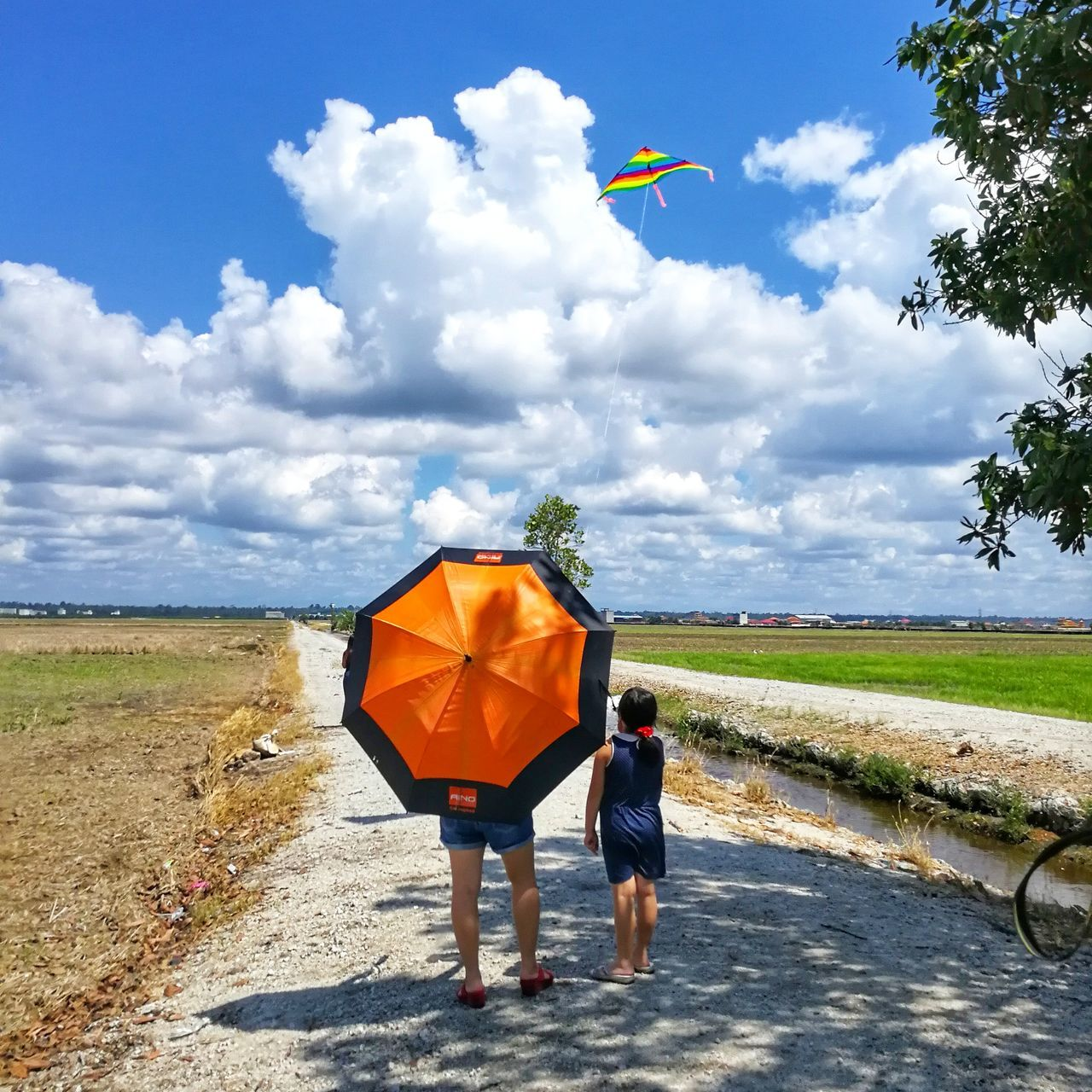 real people, sky, cloud - sky, rear view, walking, leisure activity, two people, nature, day, men, full length, lifestyles, outdoors, childhood, togetherness, casual clothing, beauty in nature, road, landscape, women, boys, scenics, grass, people