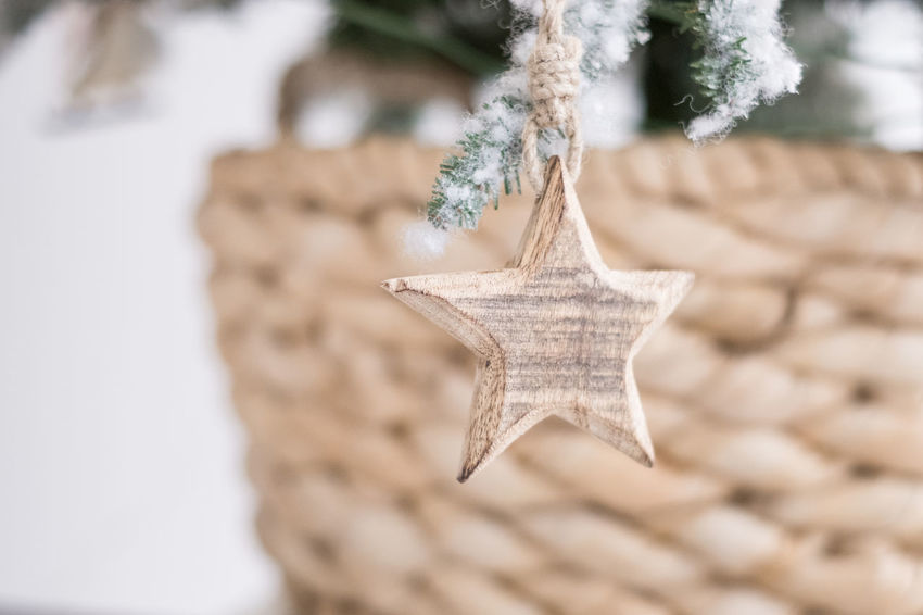 Handmade wooden star on christmas tree Year Of The Pig Hanging Close-up Focus On Foreground Star Shape christmas tree Christmas Decoration Winter Selective Focus X Mas  X-mas X-mas Decoration Nature Christmas Outdoors Cold Temperature Snow Plant Decoration No People Happy New Year New Year Tree Shape