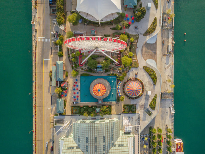 Chicago Ferris wheel Chicago Drone  Ferris Wheel Amusement Park Architecture Built Structure City Day No People Tourism Travel Travel Destinations Water