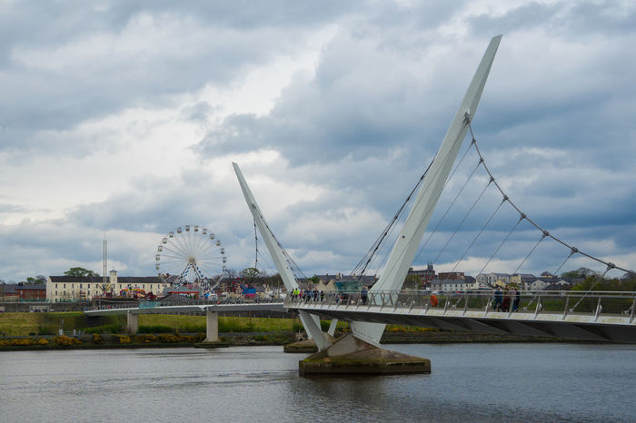 Architecture Bridge - Man Made Structure Building Exterior Built Structure City Cityscape Cloud - Sky Connection Day Derry Harbor Ireland Irish Londonderry Nature Nautical Vessel No People Northern Ireland Outdoors River Sky Suspension Bridge Transportation Travel Destinations Water