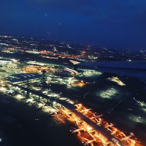 Nightphotography Aerialphotography Aerial Photography Aerial View Aerial Shot JFKAirport Night Illuminated City High Angle View Cityscape No People Water