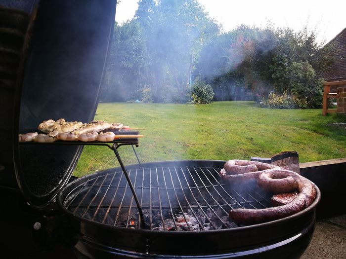 EyeEm Selects perfect eveningBarbecue Grill Barbecue Grilled Meat Water Day Outdoors Food No People Heat - Temperature Metal Grate Grass Freshness