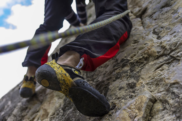 Low Section Climbing Extreme Sports Adventure Day Rock Rock Climbing Human Leg Men Shoe Lifestyles Sport Outdoors Human Foot Climbing Shoes Climbing Movement Climbing Motion Motion Climb Limestone Risky Sports