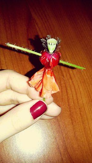 Ballerina Ballett Dancer Ballet Dancer Papavero Opium Colours Red Nail Lacquer Hand Made Flower