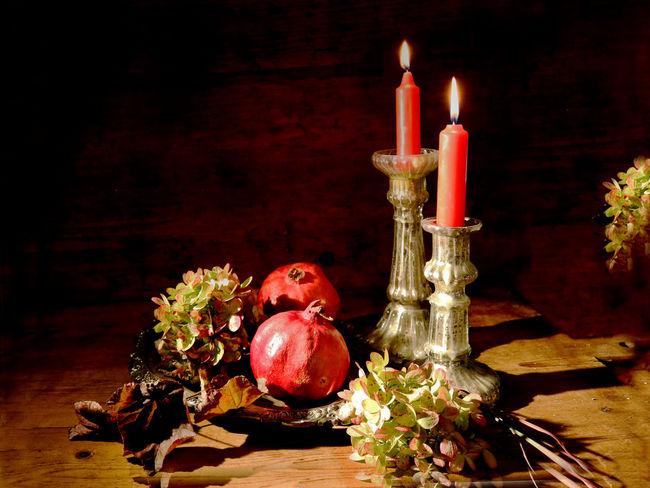 Candles Hydrangea Blossom Classi Still Life Dark Background Flower Fruit Pomegranate Silver  Still Life Vinbtage Fork