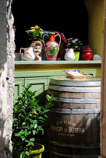 Restaurant Sicily Sicilia Taormina Italy Italian Text Western Script Food And Drink No People Plant Communication Food Potted Plant Still Life Outdoors Day