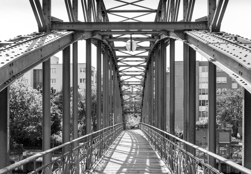 Black & White Charlottenburg  Siemenssteg Architecture Black And White Bridge Bridge - Man Made Structure Building Exterior Built Structure Connection Day Diminishing Perspective Direction Footbridge Light And Shadow Metal Nature No People Outdoors Railing The Way Forward Transportation vanishing point