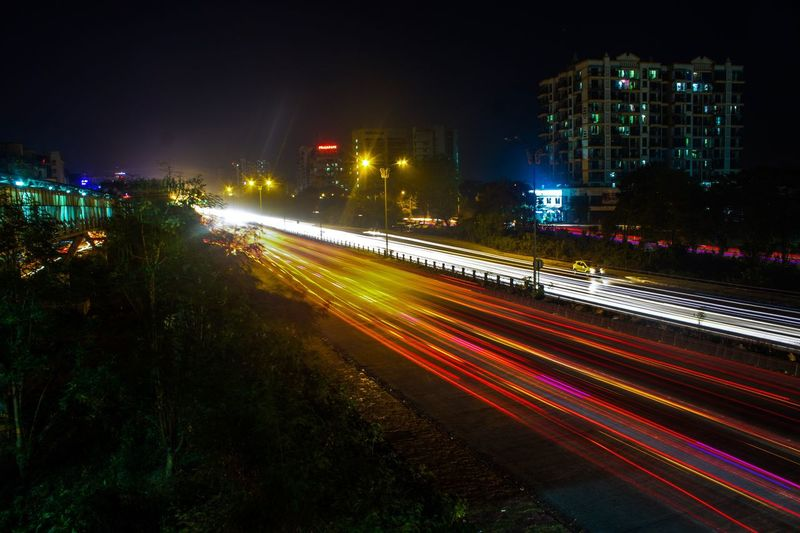 Night Light Trail Speed Long Exposure Motion City Illuminated Traffic Street Light Multi Colored Cityscape