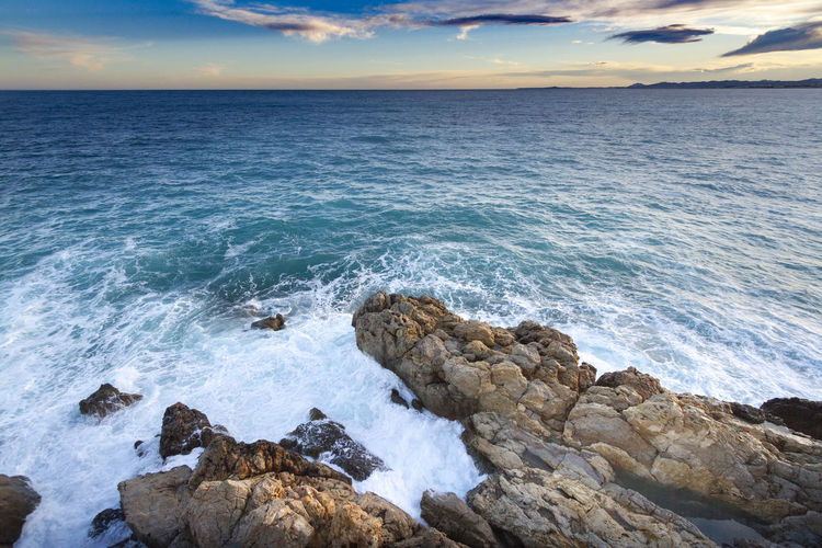 Rock Coast, Nice, France France Aquatic Sport Beach Beauty In Nature Breaking Hitting Horizon Horizon Over Water Land Motion Nature Nice No People Outdoors Power In Nature Rock Rock - Object Rocky Coastline Scenics - Nature Sea Sky Solid Sport Water Wave