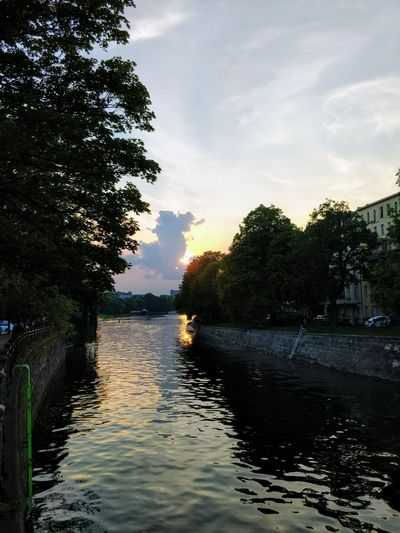 Tree Nautical Vessel Day Beauty In Nature Outdoors Nature Scenics Sunset Tranquil Scene Reflection Tranquility No People Cloud - Sky Water Sunset And Clouds  Canal Kreuzberg Berlin River