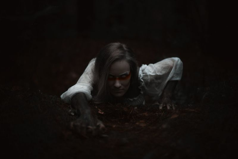 Halloween Human Hand Black Background Young Women Beauty Depression - Sadness Horror Women Dark Close-up