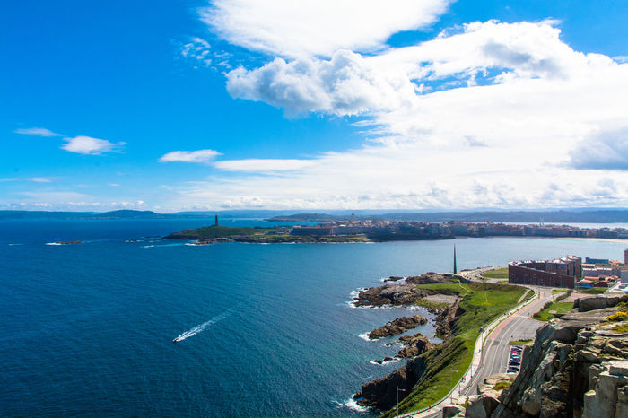 Landscape_photography Blue Sky And Clouds Sea And Sky City Landscape La Coruña Sunny Day Atlantic Ocean City View  Urban Nature Sunnyday☀️
