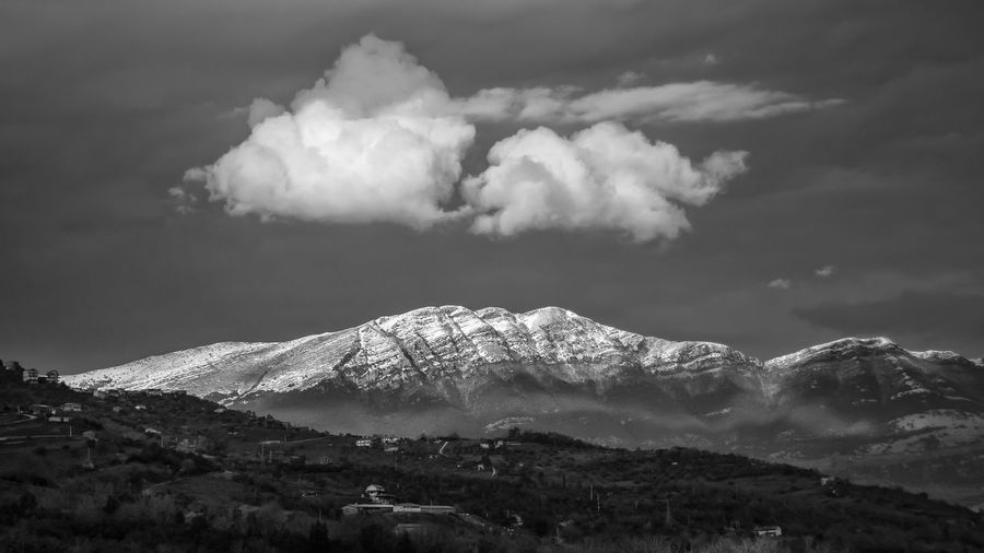 Black and white panorama of summer mountain with snow. mountains in the province of salerno