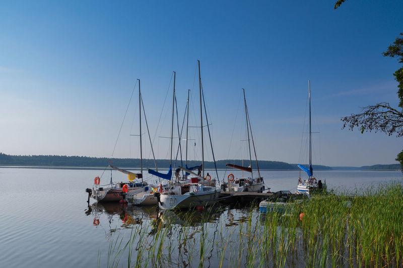 Boats in calm blue sea