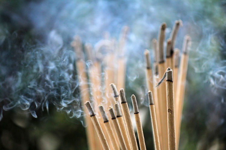 Incense burning to worship sacred objects or to worship the lord buddha.