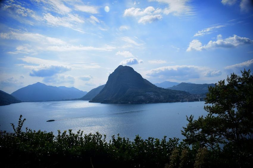 Scenics Nature Mountain Beauty In Nature Sea Water Blue Outdoors No People Landscape Sky Day Tree Lugano, Switzerland Beauty In Nature
