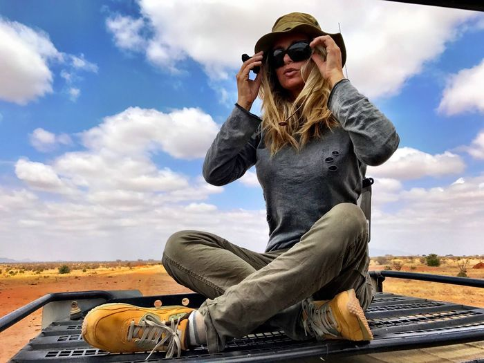 Landscape One Person Sky Sunglasses Blond Hair Sitting Leisure Activity Africa Safari Adventure Safari Women Jeep Kenya Land Vehicle Safari Park Energy Tsavo Est Whildlife Adventure Nature Confidence  Transportation Sitting Destination Savannah