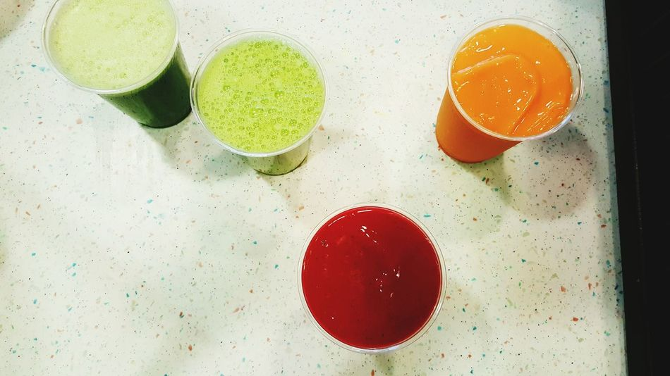 Red Directly Above Indoors  Food And Drink Close-up No People Freshness Healthy Eating Ready-to-eat Day Green Color Juice Smoothie