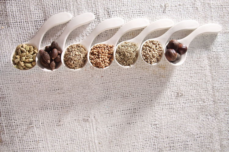 white spoon with curve fill up with spices Spice In A Row Arrangement Condiment Seasoning Assortment Variety Variation High Angle View Directly Above Ingredient Food Food And Drink Raw Food Malva Medicine Cumin Nutmeg Cardamom Rosemary Pepper Coriander Fenugreek Healthy Eating Group Of Objects