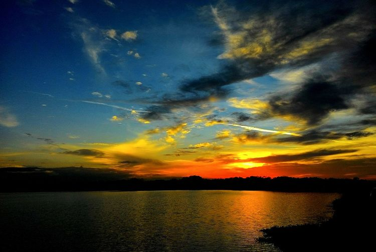 Sunset Reflection Silhouette Dramatic Sky Scenics Cloud - Sky Sky Nature Lake Beauty In Nature No People Tranquil Scene Tranquility Outdoors Water Yellow Landscape Tree Multi Colored Night