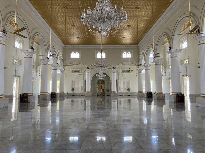 Interior of illuminated historic building
