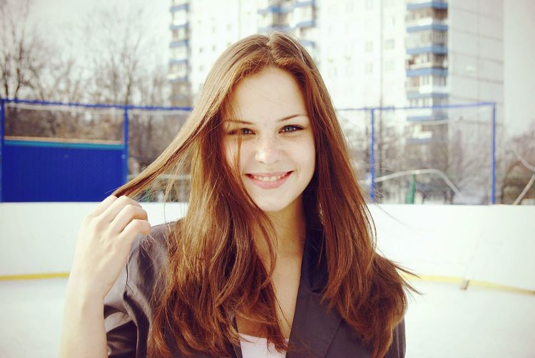 Wintertime Young Women Beauty Day Looking At Camera Young Adult Long Hair Lifestyles Ice Skating Person Front View Smile❤