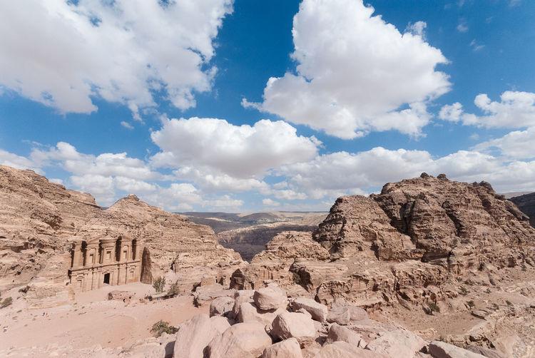 Petra building amongst rocks in the desert - the monastery