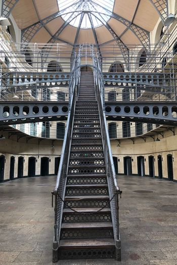 Prison of Kilmainham Goal Dublin, Ireland Dublin KilmainhamGaol Ireland🍀 Tourism Architecture Built Structure Indoors  Day Metal Staircase Architecture Built Structure Indoors  Day Metal Staircase No People Building Empty Ceiling
