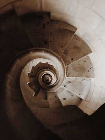 Antoni Gaudí Sagrada Familia Barcelona Spiral Indoors  Spiral Staircase Steps And Staircases Staircase High Angle View Metal Pattern Geometric Shape Architecture Circle Built Structure Shape Design Steel No People Directly Above Railing Close-up