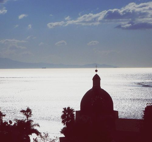 Horizon Over Water Sea Cloud - Sky Silhouette Religion No People Church Sky Day Light