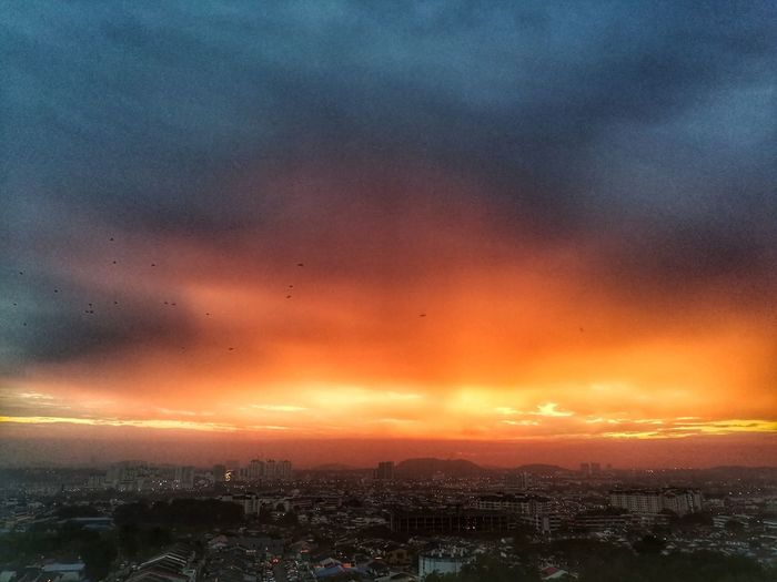Beauty In Nature Urban Skyline Dramatic Sky Romantic Sky Sky Sunrise Sunrise Colors So Beautiful ♥♥ Nature Sunrise Bird Silhouette Lovelifesa