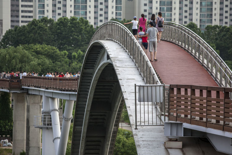 Arch Architecture Architecture Bridge Building Built Structure Capital Cities  City City Life Curved  Day Fence Leisure Activity Lifestyles LINE Modern Outdoors People Seonyudo The Way Forward Tourism Tourist Travel Destinations Tree