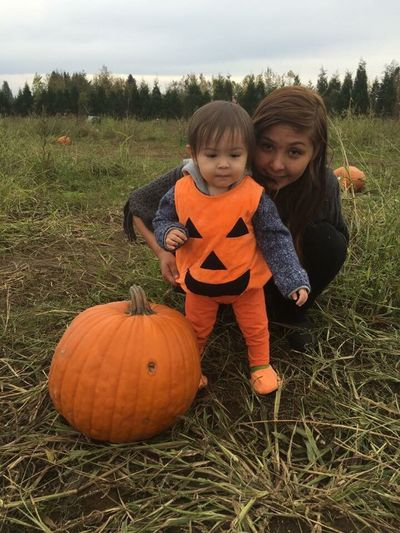 Grandson Jaxx AJ Gill and Mom,Tabitha Johnnie at pumpkin patch