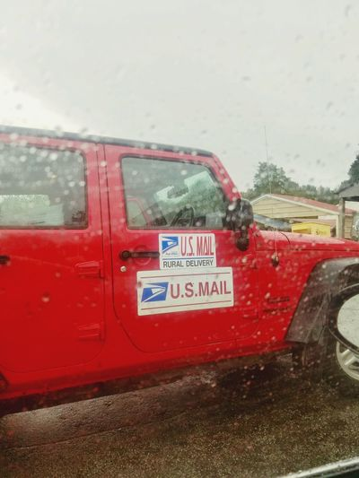 Mail call! Smile Little Things Fall Beauty Happiness Rural Scene Rural Rain Drops Rain Storm Down Pour Red Color Mail Truck Jeep Rain Rainy Days Rain Red Glass - Material Communication Text Transportation Mode Of Transportation Western Script Land Vehicle Motor Vehicle Window Nature Outdoors Sky Wet Day