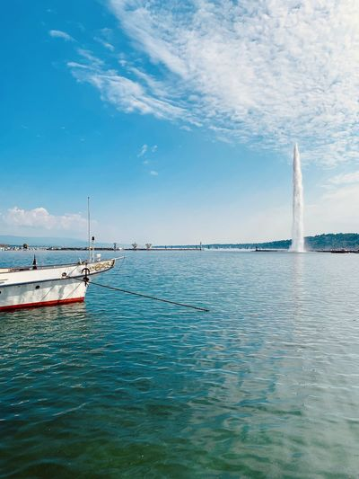 Water Fontain Water Nautical Vessel Transportation Sky Sea Mode Of Transportation Cloud - Sky Waterfront Beauty In Nature Day Scenics - Nature Motion Nature Travel No People Blue Tranquil Scene Tranquility Outdoors Sailboat Turquoise Colored Luxury Fountain Lake Switzerland Geneva Geneva Lake