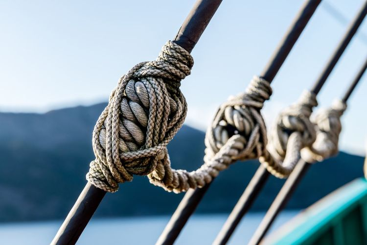 Close-Up Of Ropes Against Sky