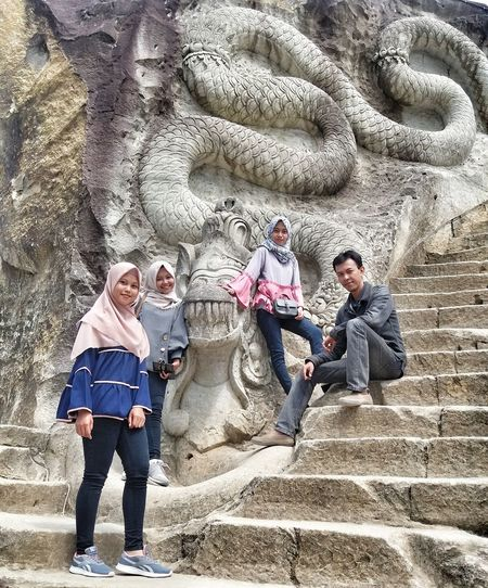 Tebing Breksi Chiseling Stone Limestone Wall Young Women Style Togetherness Friendship Men Full Length Teamwork Family Bonds EyeEmNewHere