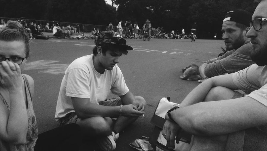 Hangout Friends Chilling Beer and Cigarettes Monochrome Blackandwhite Peopletogether
