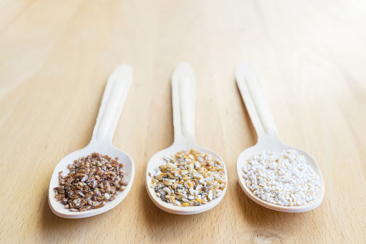 Cereal Flaxseed Quinoa Spoon Amaranth Bowl Close-up Day Food Food And Drink Freshness Grain Healthy Healthy Eating Healthy Food Healthy Lifestyle Indoors  No People Spoons Table Three Quarter Length Wooden Wooden Background Wooden Spoon