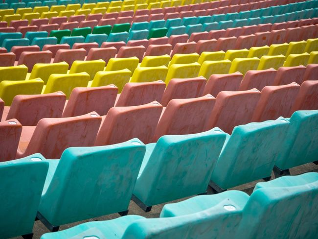 In A Row Chairs Stadion Muster Mix In A Row Seat Chair Empty Multi Colored Auditorium No People Colour Your Horizn