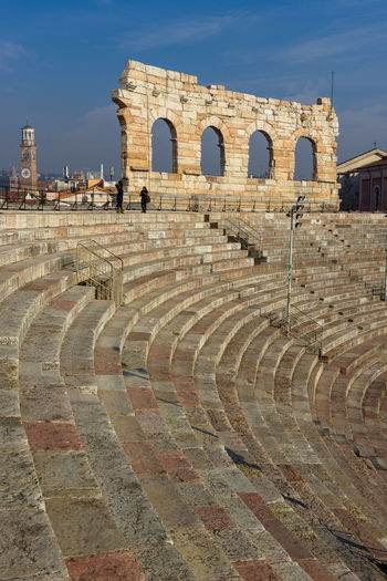 Historic amphitheater against sky at veneto