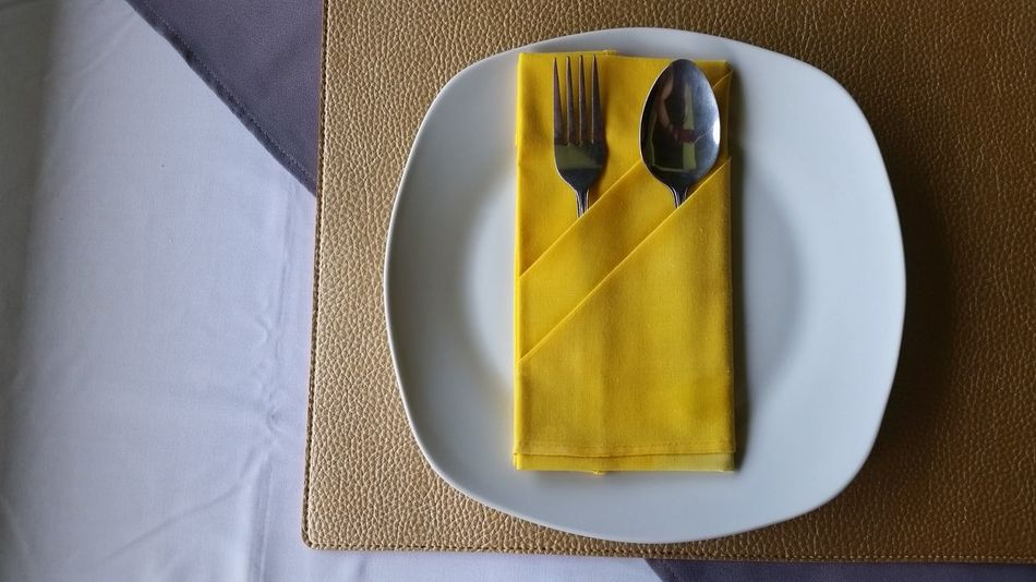 Plate Food Restaurant Dish Spoon Fork Table Meal Dinner Lunch Brakefast Eat Hotel Hospitality Restaurant Decor Food Table FoodsNo People Yellow Black Archival Close-up Indoors  Freshness Day