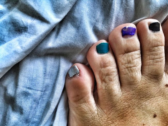 EyeEm Diversity Human Body Part Nail Polish Fashion Close-up Indoors  One Person Foot Colours Colors Toes Four Man LGTB Different Differences  Excentric Choices Diversity Man's toes with nail polish. EyeEmNewHere Break The Mold This Is Masculinity