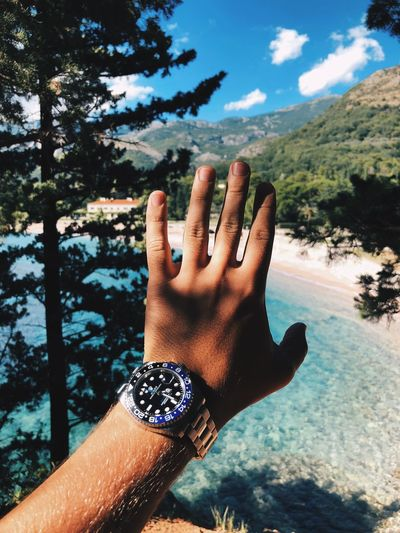 Close-up of man hand wearing wristwatch against trees