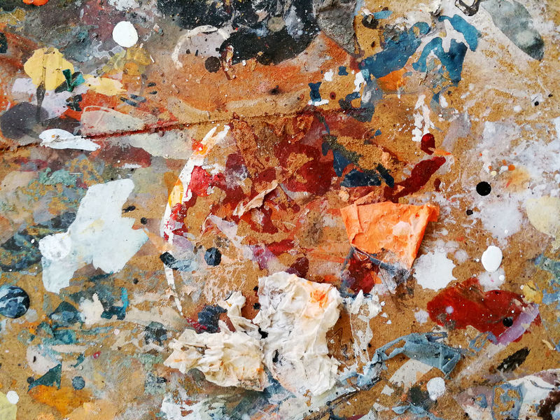 Multicolored palette composed of tempera and oil colors Art Backgrounds Brush Close-up Creative Day Drawn Drop Full Frame Indoors  Multi Colored Multicolored Oil Paints Painted Painting Palette Random Raw Signs Smooth Stain Stained Table Cloth Textured  Worked