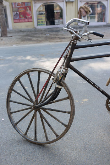 Bicycle, Agra, India Bicycle Close-up Day India Indian Land Vehicle Mode Of Transport No People Outdoors Poor  Rickety Road Spokes Stationary Street Transportation Vintage Wheel