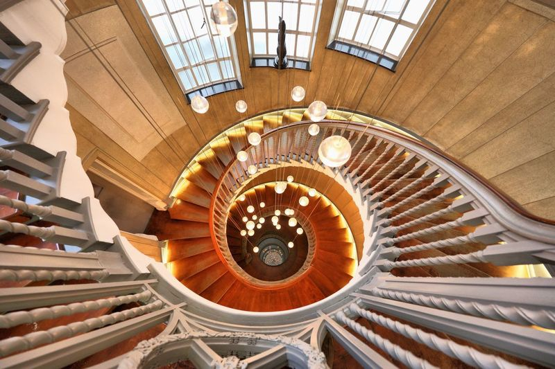 High Angle View Of Empty Spiral Staircase