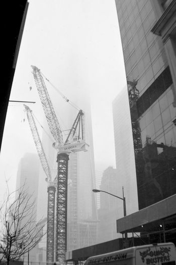 Architecture Building Exterior Building Story Built Structure City Construction Construction Industry Construction Site Crane Crane - Construction Machinery Development Fog Foggy Freedom Tower Improvement Incomplete Low Angle View Modern Newyork Office Building Progress Sky Skyscraper Tall Tall - High